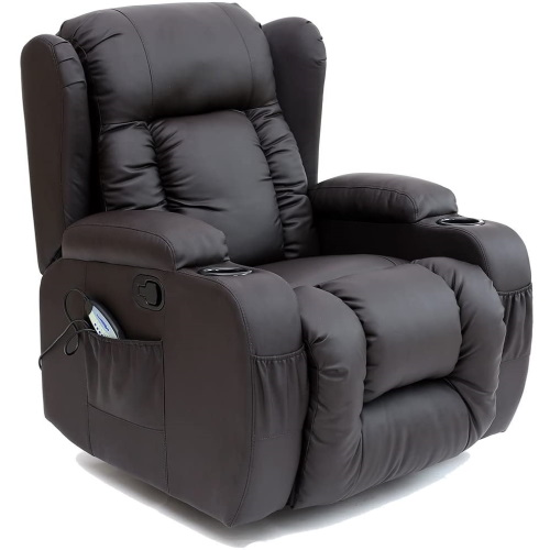 RECLINER ROCKING MASSAGE LEATHER-ARMCHAIR